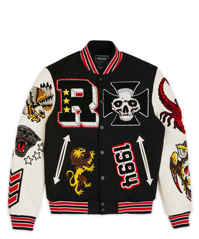 Reason Clothing Street Veteran Varsity Jacket - Black