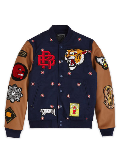 Reason Clothing Kingdom Varsity Jacket - Navy