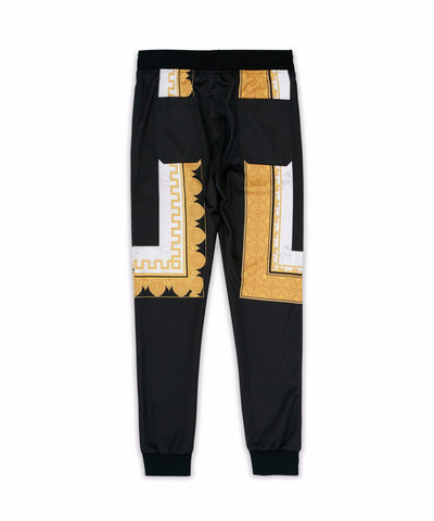 Reason Clothing Marble & Gold Trackpants - Black/Gold