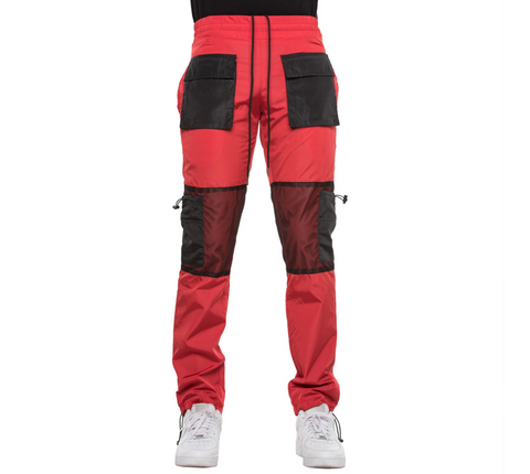EPTM RED-WINDBREAKER MESH CARGO PANTS
