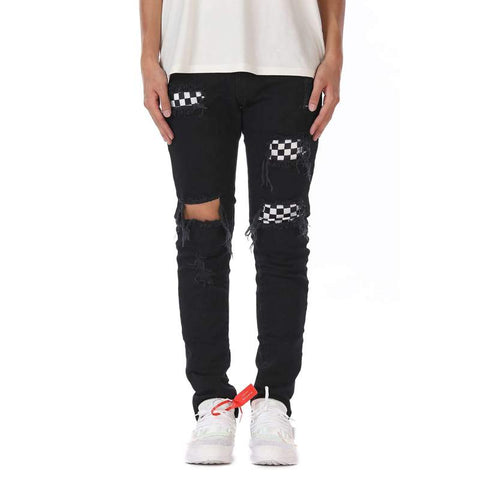 DSRCV CHECKERED DENIM PANTS - BLACK