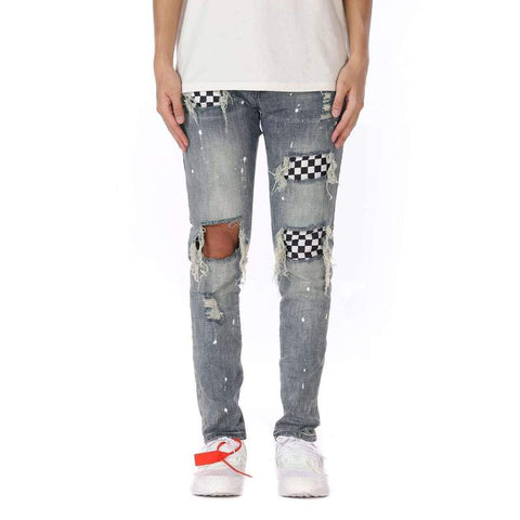 DSRCV CHECKERED DENIM PANTS - BLUE