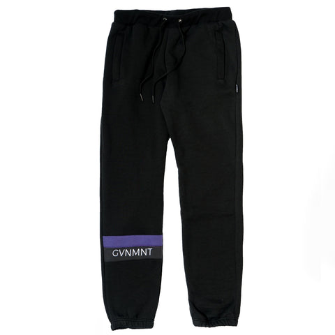 GVNMNT CLOTHING CO' PANELLED TRACK BOTTOMS - BLACK
