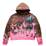 FNTY THE FNTY FLAME HOODIE - BROWN