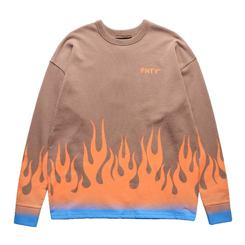 FNTY MELTING DOWN IN THE FLAME CREWNECK - BROWN