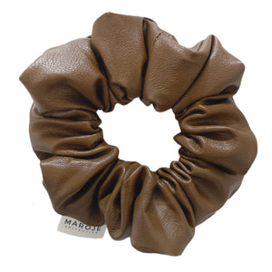 Tan Vegan Leather Scrunchie | Premium Collection