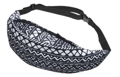 The Black White Geometric Fanny Pack