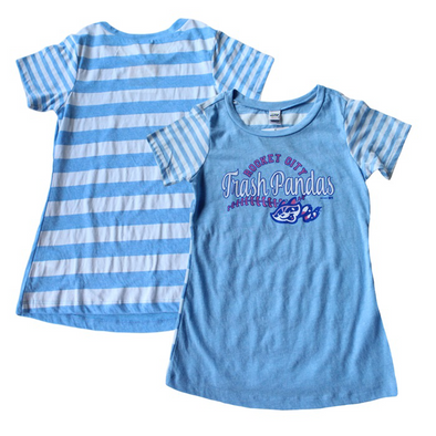 Youth Girls Heather Blue/White Striped T-shirt