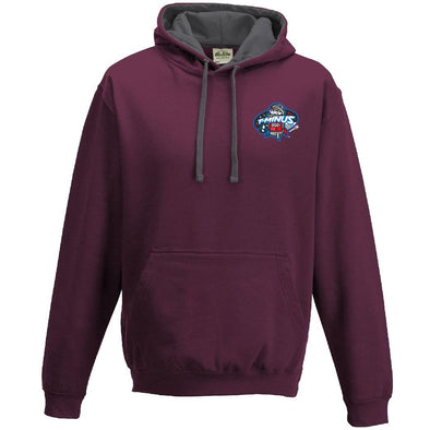 Maroon/Heather Grey T-Minus Contrast Hooded Sweatshirt