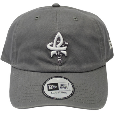 9-20 Adjustable Storm Grey Casual Classic Twill Cap Imprinted with Rocket City and Raccoon Tail Underscore