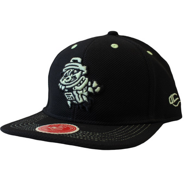 OC Youth Black Snapback Cap with Glow in the Dark Primary Logo