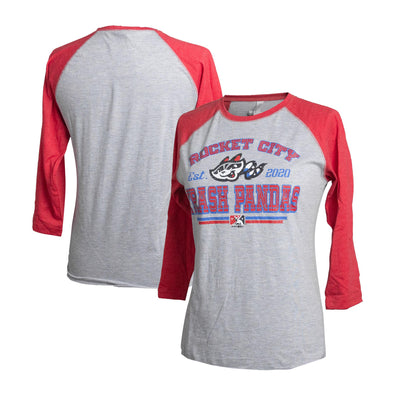 Ladies 3/4 Sleeve Red/Grey Raglan T-shirt