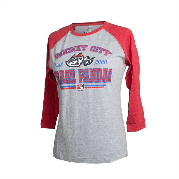 3/4 Sleeve Ladies Red/Grey Raglan T-shirt
