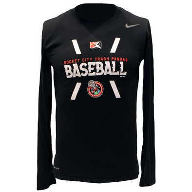 Nike Black Long Sleeve Tee Imprinted with Rocket City Trash Pandas Logo, Inaugural Mission Logo, and Minor League Baseball Logo