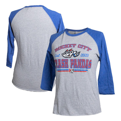 Ladies 3/4 Sleeve Blue Raglan