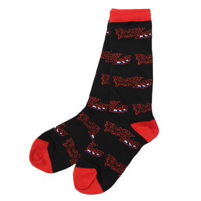 Black and Red Socks Imprinted with Trash Pandas Lettering and Raccoon Tail Underscore