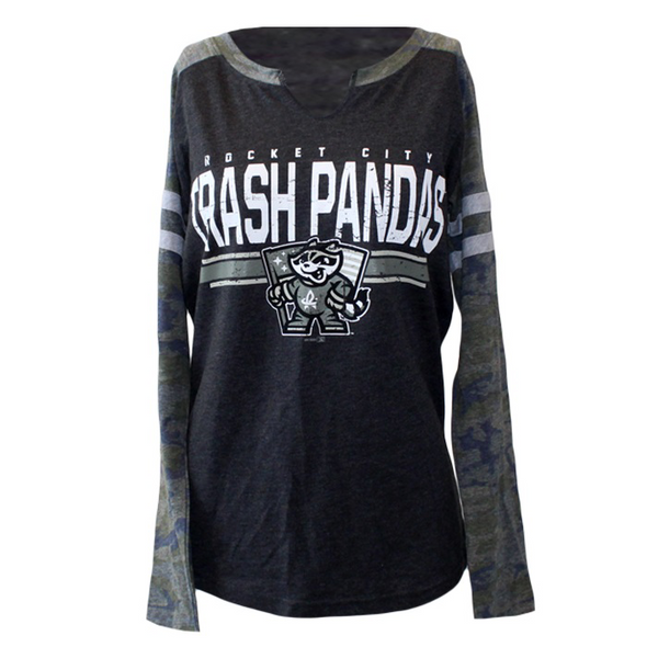 Ladies Vintage Camo Mashup L/S Speil Flag T-Shirt