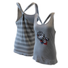 JUNIORS HEATHER/TITANIUM STRIPED KNOT-BACK TANK TOP