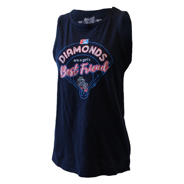 Diamonds are a girl's best friend navy tank top