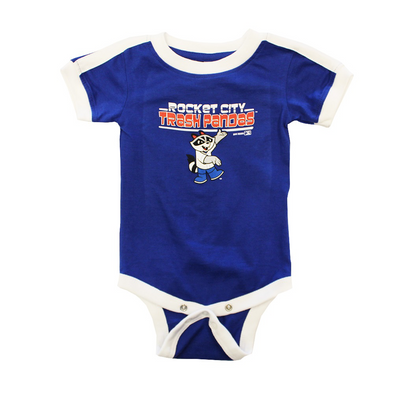 "Toddler onesie in blue with white trim with Sprocket (Trash Panda mascot) on the front with ""Rocket City Trash Pandas"" imprinted on the front as well."
