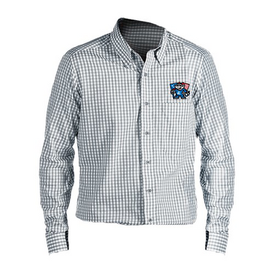 ANTIGUA MENS GREY/WHITE FLAG DRESS SHIRT