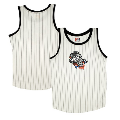 Ladies Black Primary Pinstripe Jersey Tank Top