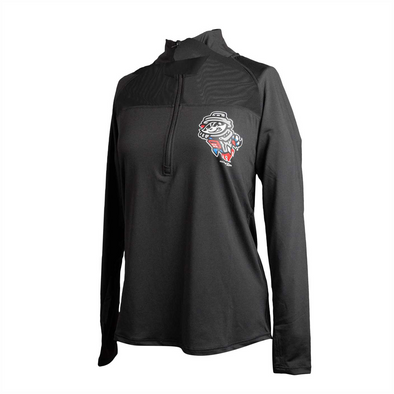 Ladies L/S Black Primary 1/4 Zip Spandex Jersey Pullover