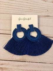 Blue Fringe with Blue trim earrings