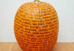 pumpkin with written words of gratitude