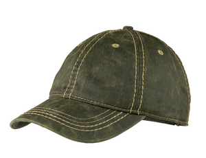Pigment Print Distressed Cap with Embroidery