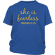 She is Fearless Proverbs 31:25 | Youth Short Sleeve Shirt
