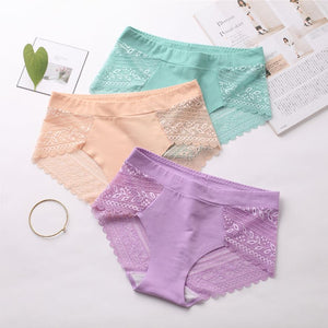 【Set of 3 Pcs】Seamless Lace Panties PT2722 - Sportantz