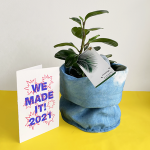Canvas Planter with Plant and 2021 Greeting Card
