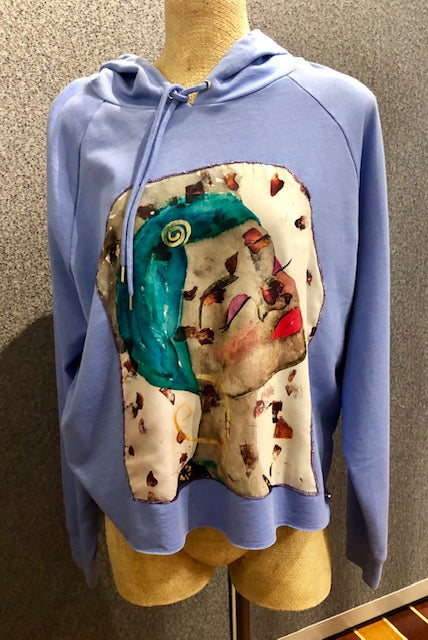 "SOLD - Art Cozies - Art Hooded Sweatshirt ""Time to Smell the Roses"""