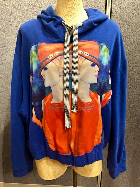 "SOLD -Art Cozies - Art Hooded Sweatshirt ""Sassy Twins"""