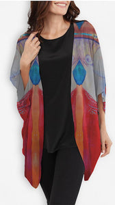 "SOLD - Art Soft Jacket -Kimono -  ""Sassy Twins"" Silk"