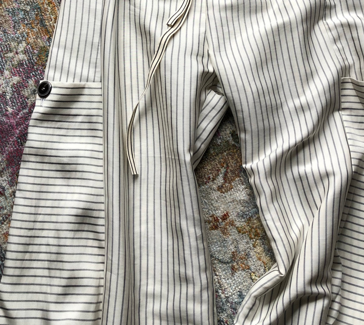 "Soft Pant - ""Menswear stripe"" w/Big Pockets"