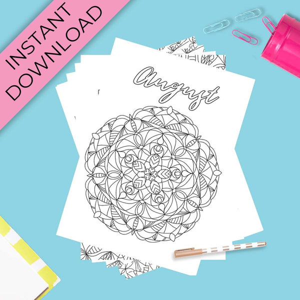 August Journal Planning Pages - Mandala Theme