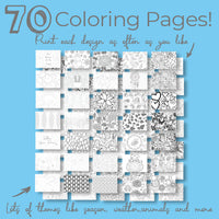 70 Page Coloring Book