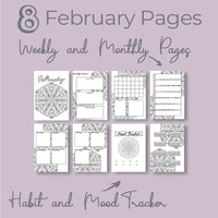 February Journal Planning Pages - Mandala Theme