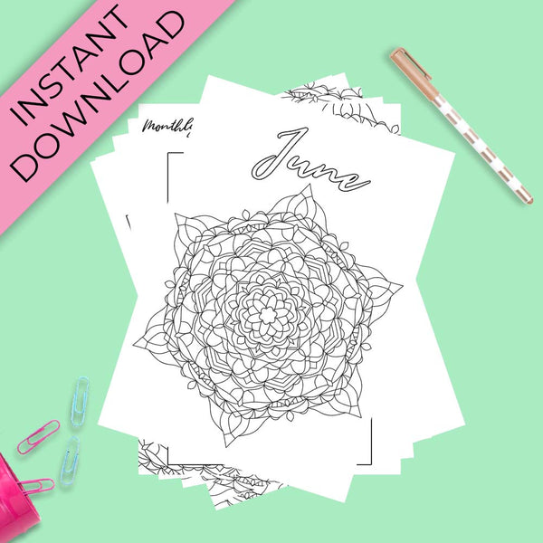 June Journal Planning Pages - Mandala Theme