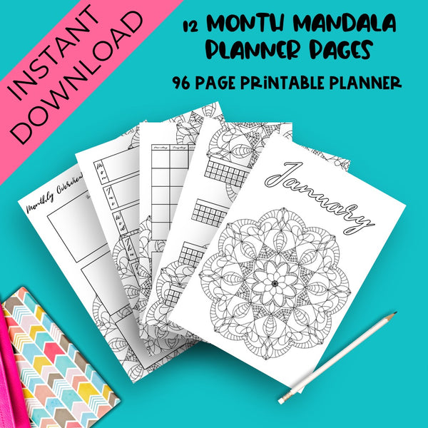 A Year Of Journal Planning Pages - Mandala Theme