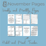 November Journal Planning Pages - Mandala Theme