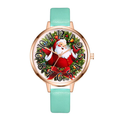 New Year Watches men and women students watch Christmas gift High Quality Leather Santa Claus casual ladies quartz watch