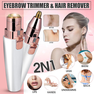 2 IN 1 Lady Epilators Electric Eyebrow Trimmer USB Rechargeable Hair Removal Shaver with Light Lipstick
