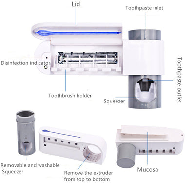 2-in-1 UV disinfection toothbrush holder Automatic toothpaste holder Washing disinfection toothbrush holder set