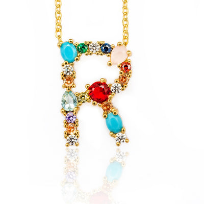 Multicolor charm Gold pendant Necklace micro pave zircon initial 26 letter necklaces Couple Name necklace Christmas gift