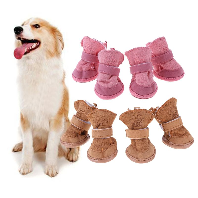 Thick Snow Pet Shoes Dogs Chihuahua Animal Warming Shoes Plush Winter Pets Puppy Cats Warm Boots