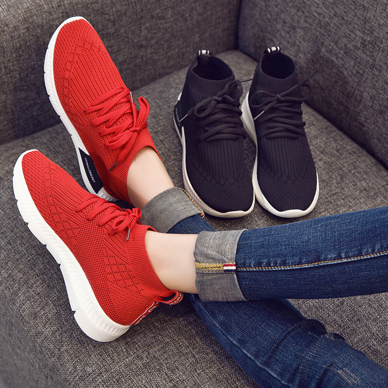 Leisure sports shoes flat top, round head lace up, flying shoes, coconut shoes, women's shoes