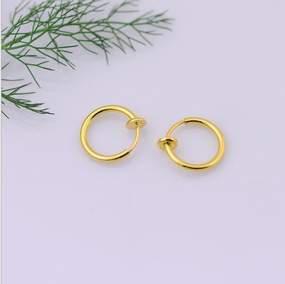 1 Pair 13mm Punk Goth False Hoop Earrings Septum Clip on Boby Nose Lip Ear Fake Piercing Rings Stud